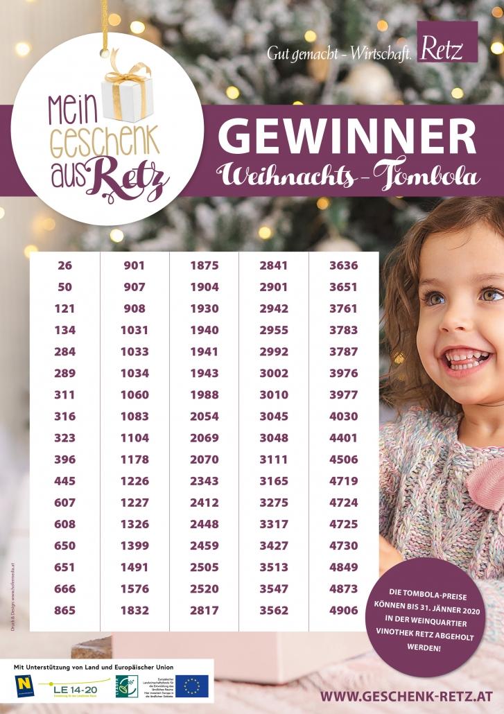 Gewinner Weihnachts-Tombola